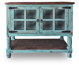 Cottage Rustic Two Door Cabinet Turquoise