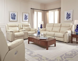 Uptown Leather Double Reclining Console Sofa