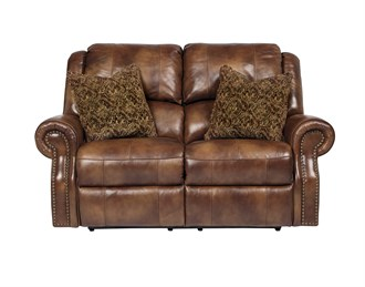 Walworth Power Leather Reclining Loveseat Auburn