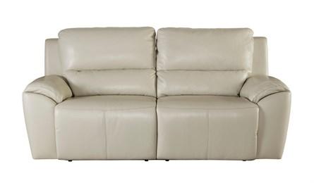 Valeton Leather Two Seat Reclining Sofa Cream
