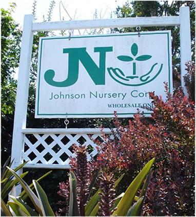 The Johnson Nursery Hanging Entrance Sign