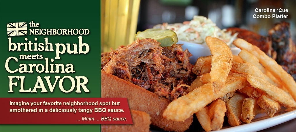British pub meets southern flavor, try the Carolina 'Cue Combo Platter