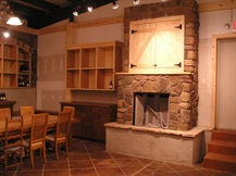 wine cellar fireplace