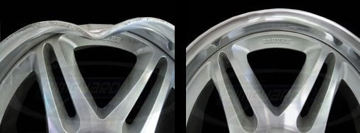 Before and after wheel/rim repair service