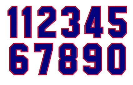 1 color Die Cut Number Decals