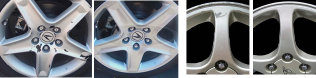 Before & After of Damaged Rim & Repaired Rim