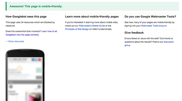 Pass Mobile Friendly Test